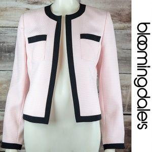 Bloomingdale's Pink Black Blazer 10 Round Neck